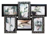 купить Деревянная мультирамка Черное серебро на 6 фото цена, отзывы