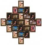 купить Деревянная мультирамка Ромб золотой шоколад на 25 фото цена, отзывы