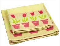 купить Махровое жаккардовое полотенце желтое 70х140 см цена, отзывы