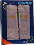купить Набор кухонных махровых сиреневых полотенец 2 шт цена, отзывы
