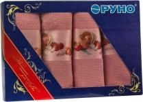 купить Набор кухонных махровых розовых полотенец 4 шт цена, отзывы