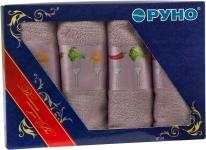 купить Набор кухонных махровых сиреневых полотенец 4 шт цена, отзывы