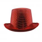 купить Шляпа Цилиндр с пайетками (красная) цена, отзывы