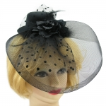 купить Шляпка с бутоньеркой и вуалью (черная) цена, отзывы