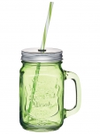 купить Чашка стеклянная с крышкой и трубочкой Зелёная цена, отзывы