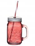 купить Чашка стеклянная с крышкой и трубочкой Красная цена, отзывы