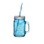 купить Чашка стеклянная с крышкой и трубочкой Синяя цена, отзывы