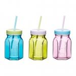 купить Чашка стеклянная с гранями с крышкой и трубочкой  цена, отзывы