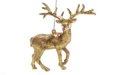 купить Елочное украшение золотой олень цена, отзывы