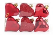 купить Набор елочных украшений Сердца красный цена, отзывы