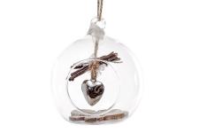 купить Елочный шар с декором Сердце 8 см цена, отзывы