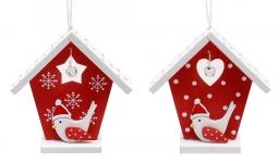 купить Новогодний набор украшение Дом с птицей 8см цена, отзывы