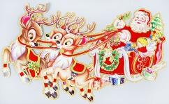 купить Новогоднее панно Дед Мороз в санях 77.5см цена, отзывы