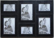 купить Кожаная мультирамка на 6 фото Black  цена, отзывы