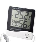купить Цифровой термометр, часы, гигрометр с проводдом цена, отзывы