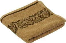 купить Махровое жаккардовое гладкокрашенное полотенце бежевое 50х90 см цена, отзывы