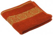 купить Махровое жаккардовое гладкокрашенное полотенце терракотовые 50х90 см цена, отзывы