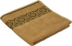 купить Махровое жаккардовое гладкокрашенное полотенце бежевое70х140 см цена, отзывы
