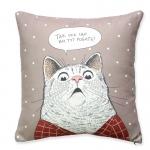 купить Подушка Удивленный кот бежевая цена, отзывы