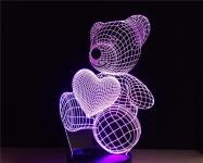 купить 3D ночник Мишка цена, отзывы