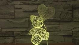 купить 3D ночник Мишка с воздушным шариком цена, отзывы