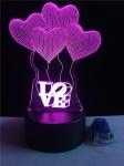 купить 3D ночник воздушные шары Love цена, отзывы