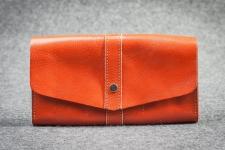 купить Кожаный Кошелек Natali Оранжевый цена, отзывы