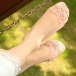 купить Кружевные тапочки-носочки пудровые цена, отзывы