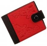 купить Женский Кожаный кошелек Красные Цветы и Черное цена, отзывы