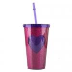 купить Стакан с крышкой и трубочкой Purple heart цена, отзывы