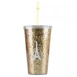 купить Стакан с крышкой и трубочкой Eiffel Tower Gold цена, отзывы