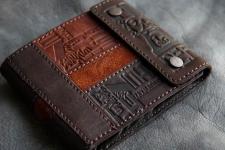 купить Кожаное портмоне с отделением на молнии Brown цена, отзывы