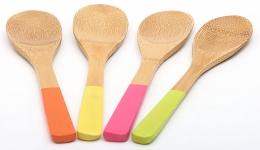 купить Ложка поварская бамбуковая с цветной ручкой цена, отзывы