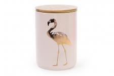 купить Банка фарфоровая Фламинго с бамбуковой крышкой цена, отзывы