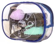 купить Прозрачная косметичка для путешествий круглая (синий) цена, отзывы