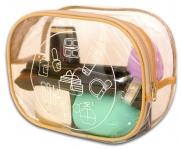 купить Прозрачная косметичка для путешествий круглая (бежевая) цена, отзывы