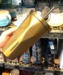 купить Стакан с крышкой и трубочкой Starbucks Gold цена, отзывы