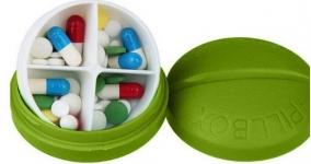 купить Контейнер для таблеток на 4 отделения зеленый цена, отзывы