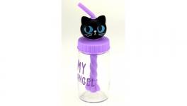 купить Бутылка Кошка с трубочкой миксером 4 вида цена, отзывы