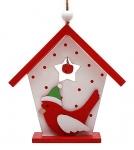 купить Новогоднее украшение домик с птичкой красный цена, отзывы