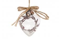 купить Елочное украшение стеклянное сердце 9см цена, отзывы