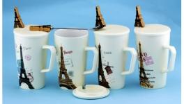 купить Чашка с крышкой ложкой Париж 4 вида цена, отзывы