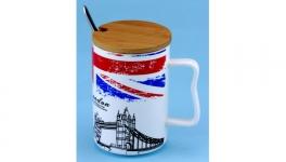 купить Чашка с крышкой ложкой Лондон 4 вида цена, отзывы