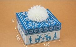 купить Подарочная коробка С помпоном голубая 14х14х7 см цена, отзывы