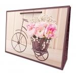 купить Подарочный пакет Flower bicycle 24.5х35х10см цена, отзывы
