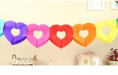 купить Гирлянда бумажная объемная 3D Colored heart цена, отзывы