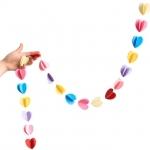 купить Гирлянда бумажная объемная 3D Сердечки цена, отзывы