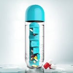 купить Бутылка для воды с таблетницей Pill Vitamin Water Bottle Blue цена, отзывы