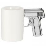 купить Чашка Пистолет белая с серебряной ручкой цена, отзывы