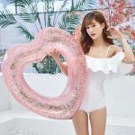 купить Надувной круг Сердце с блестками внутри 90см цена, отзывы